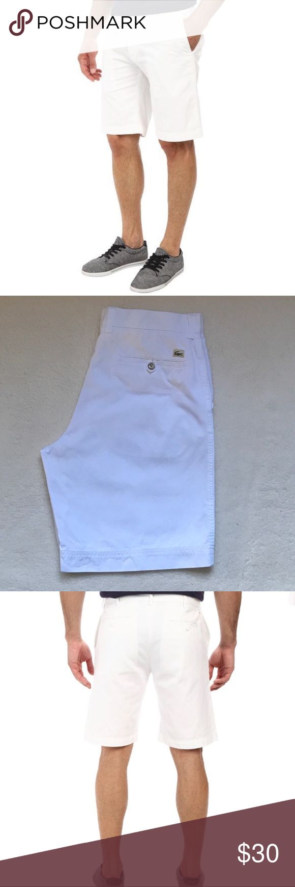 Mens Lacoste White Classic Bermuda Shorts 34 44 Mens Lacoste White Classic Bermuda Shorts 34 44  Nice pair of men's Lacoste Khaki shorts! Good Condition!   Size 44 which is equivalent to a men's 34. Inseam - 10in  If you have any questions please feel free to ask! Lacoste Shorts Flat Front