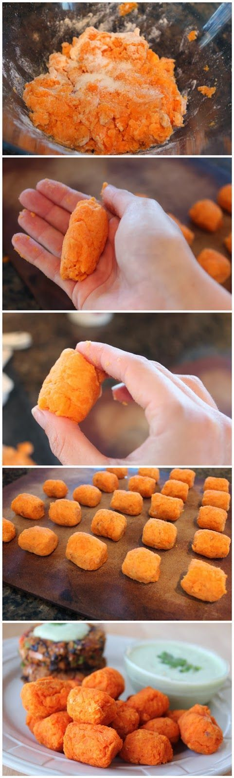 Homemade Baked Sweet Potato Tots (change rice flour for almond flour for Whole 30)