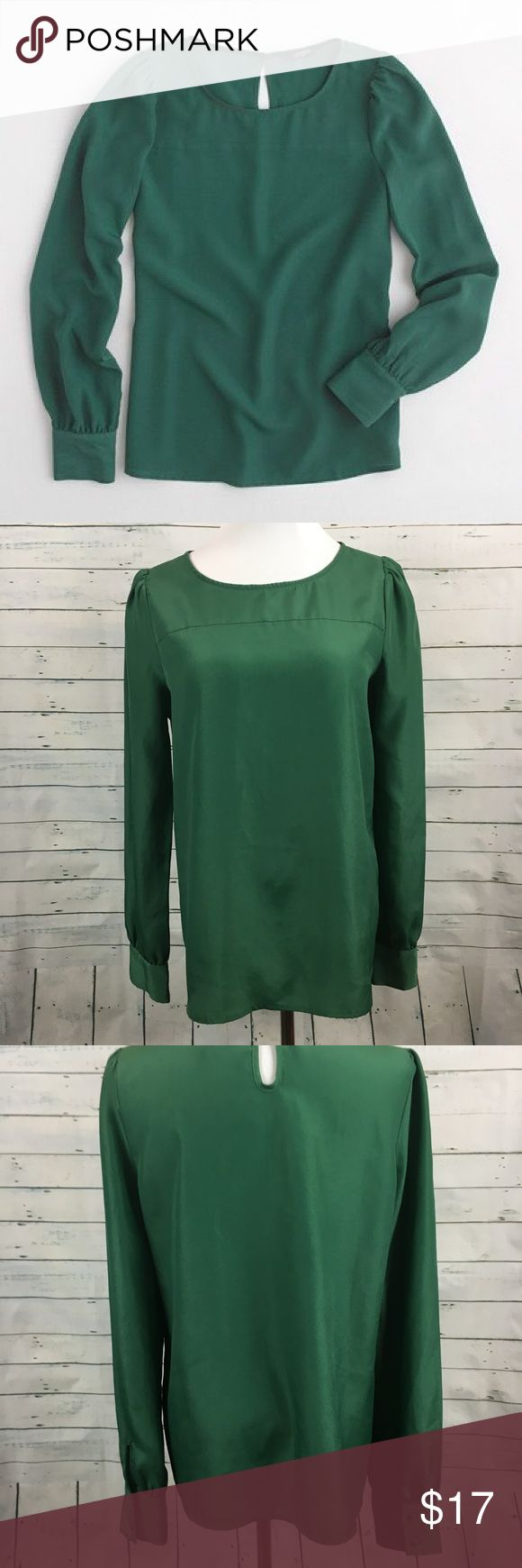 """J.Crew factory boat neck Blouse green J.CREW Women's long sleeve factory boatneck blouse. size small. green color. Some spots to fabric   armpit to armpit-18.5"""" overall length-24"""" J. Crew Tops Blouses"""