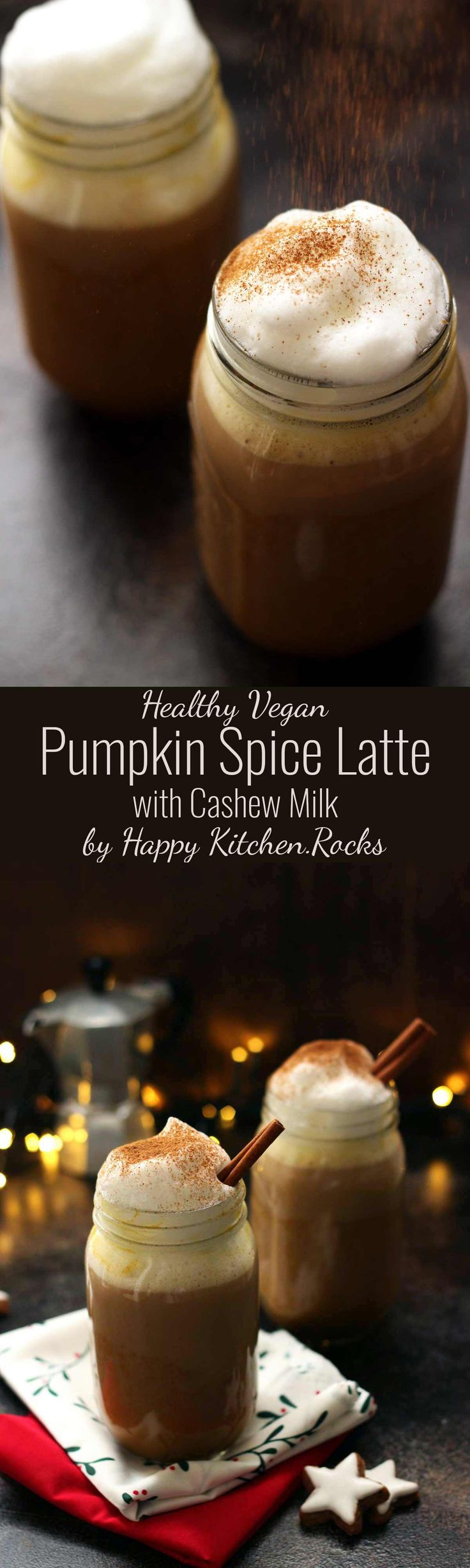 This Healthy Vegan Pumpkin Spice Latte Recipe is amazingly delicious, dairy-free and absolutely guilt-free! Made with homemade cashew milk using The NutraMilk, maple syrup, real pumpkin and of course pumpkin pie spice. #coffee #latte #vegan #pumpkin #pumpkinpiespice #pumpkinspicelatte #christmasrecipes #TheNutraMilk #Pmedia #ad #fallrecipes #recipes #healthyrecipes #comfortfood #beveragerecipe #hotbeverage #veganrecipes #dairyfree #cozy #hygge #healthyfood #healthyfoodrecipes