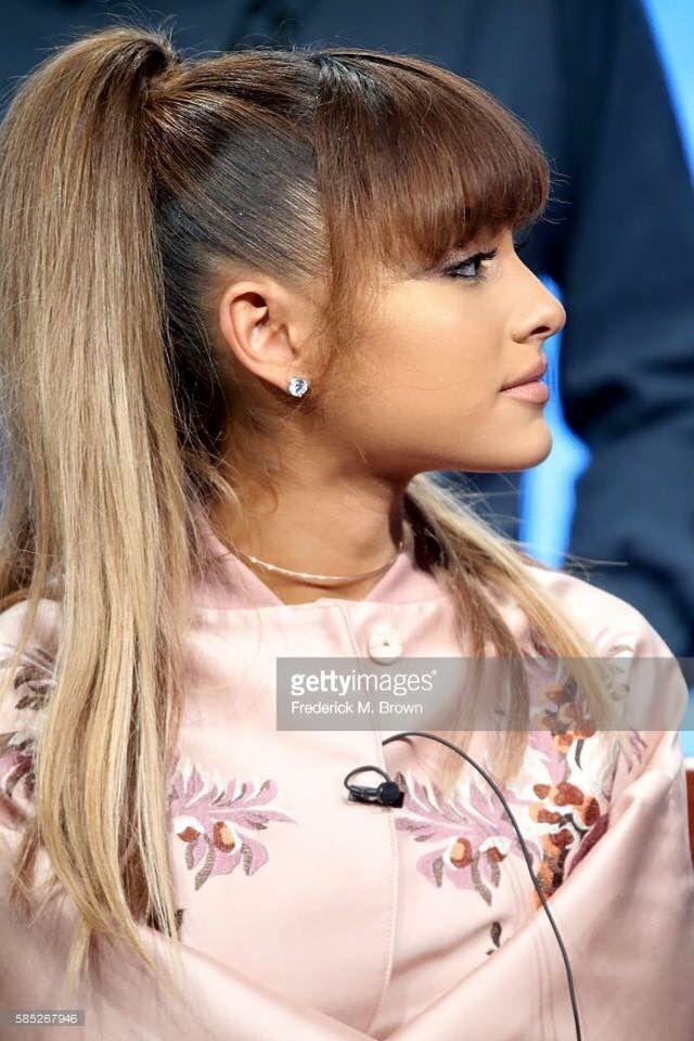 Ariana grande slain the bangs coupe cheveux longs femmes pinterest coupe cheveux long - Ariana grande coiffure ...