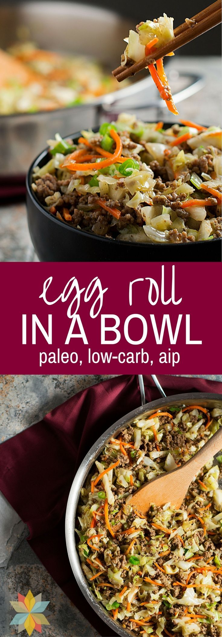 This Egg Roll in a Bowl has all of the great flavor of an Egg Roll, but without the fuss or carbs of the wrappers!  via @wholenewmom