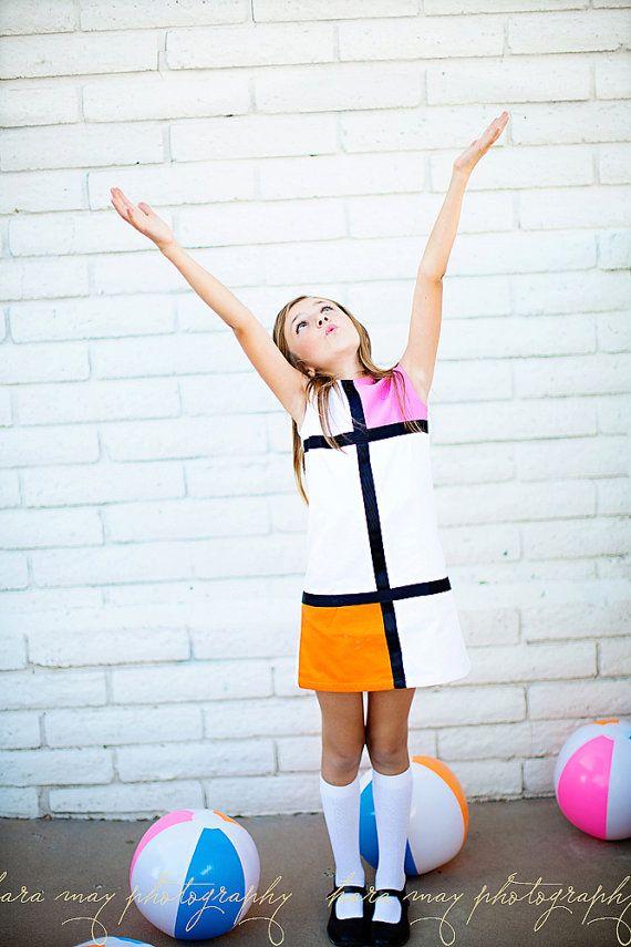 Retro 1965 Color Block Pink and Orange Mini Dress by faithworks4u