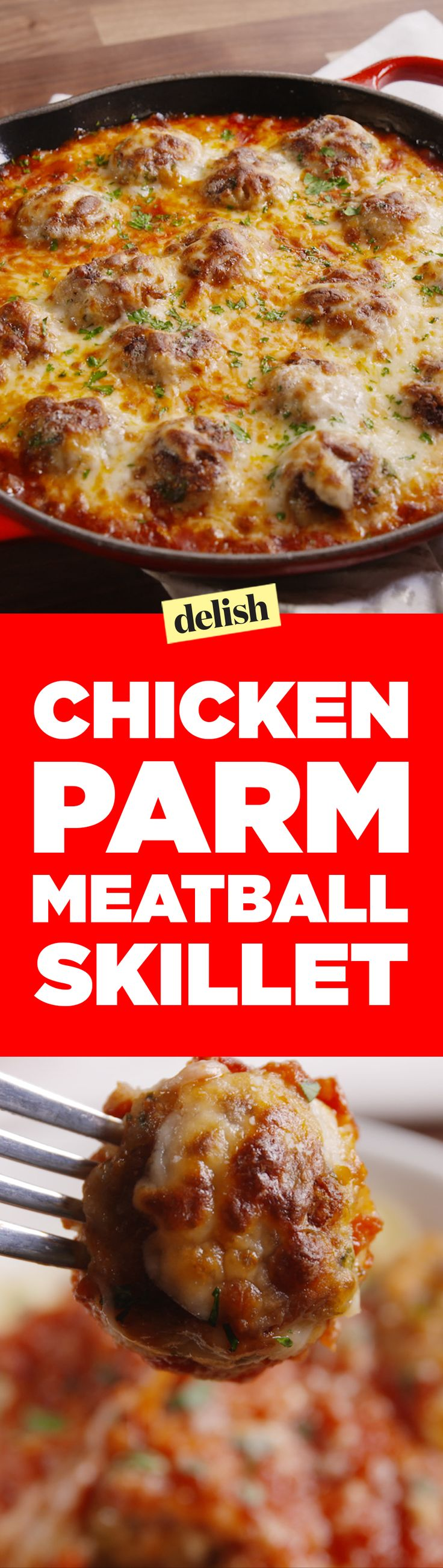 This chicken parm meatball Skillet is a combo of two perfect comfort foods. Get the recipe on Delish.com.