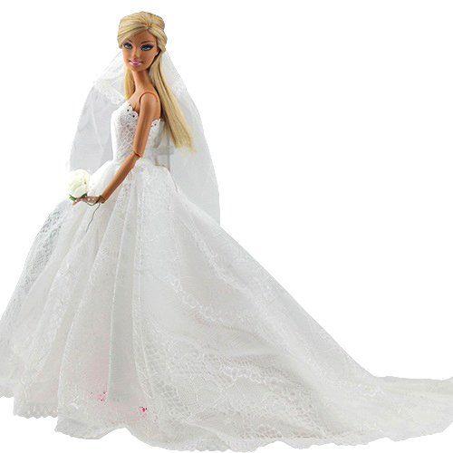 Abendkleid Spitze Zug Kleidung Kleider Brautkleid Ballkleid mit Brautschleier für Barbie Puppen – imageMED.org