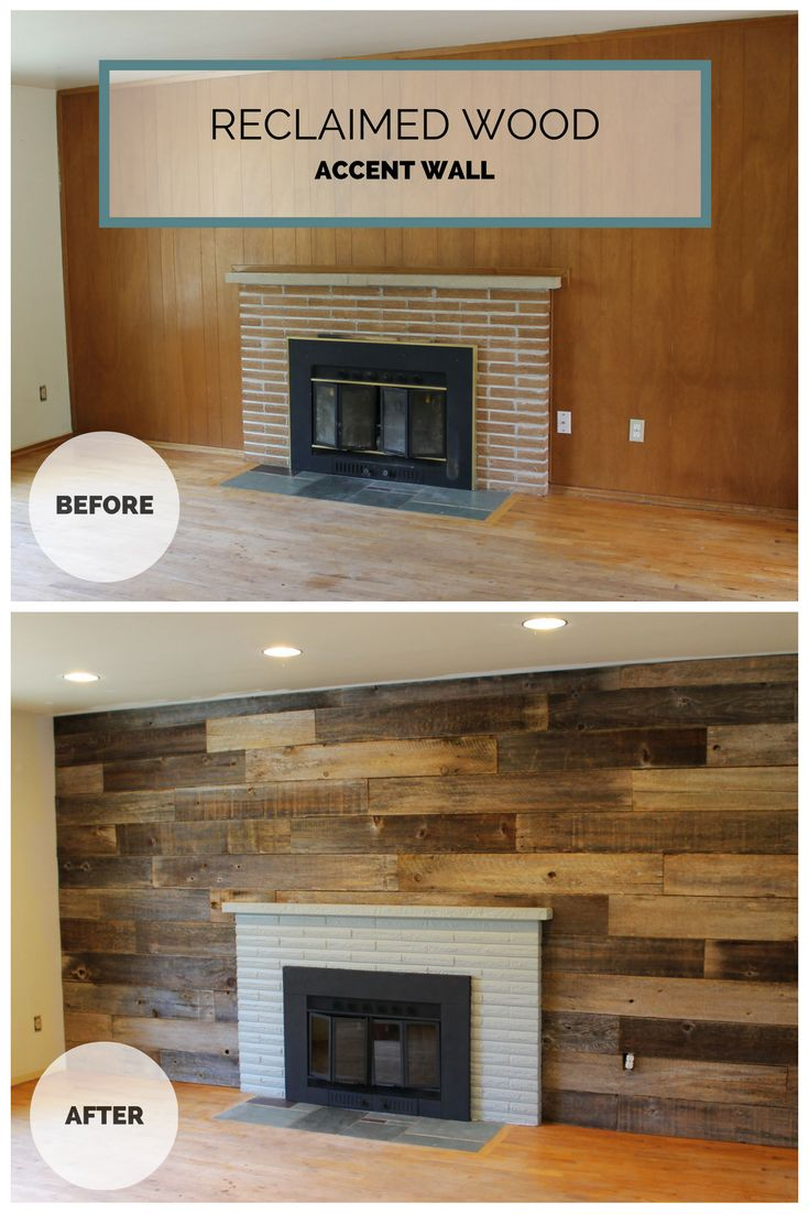 Reclaimed wood wall. Painted fireplace and old cedar fence ...