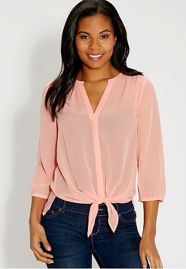 the perfect blouse with tied front (original price, $29) available at #Maurices