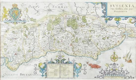 Sale B141015 Lot 213  Norden and Kip. Sussexia hand coloured engraved map of Sussex, 22 x 39cm (plate); together with two Cambridge town plans circa 1810, a roll of reprinted historical Sussex maps by Harry Margary, and one other  - Cheffins