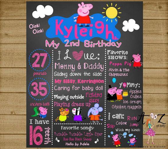 Peppa Pig Birthday Chalkboard Peppa Pig by AtoZwithAshleyEvents