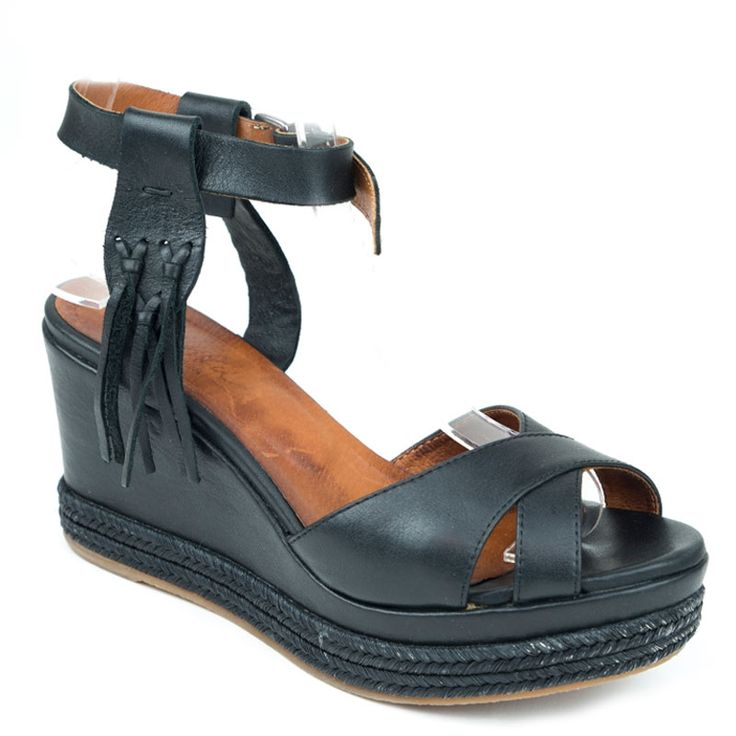 Sandales compensées Minka Design, Kinza en cuir lisse Noire