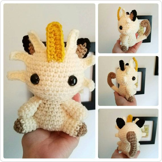 Meowth Pokemon Toy. Plush Meowth. Crochet Meowth Doll. Normal Type Pokemon. Team Rocket Plushie.