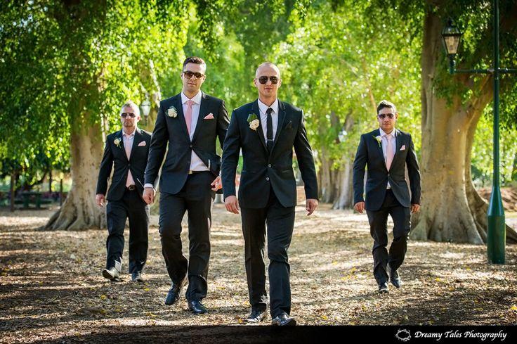Groom and groomsmen in Brisbane Botanical Gardens