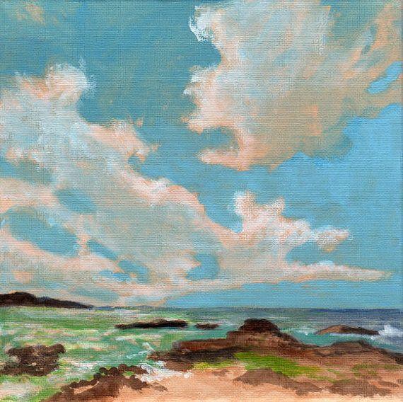 Rocky Coast - Original Landscape Painting of Sky Clouds Ocean Water Zen Fresh via Etsy