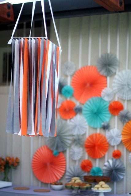 Grey  teal and Orange Baby Shower(replace real with green?)
