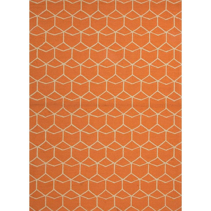 2' x 3' Rustic Orange and White Estrellas Design Outdoor Area Throw Rug, Outdoor Décor