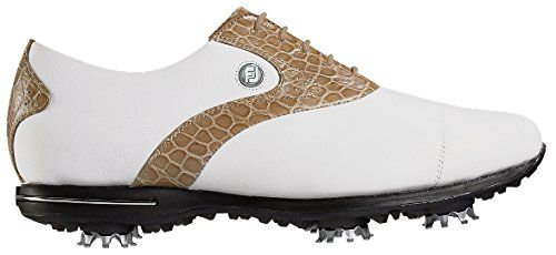 Womens Golf Shoes Fashion | FootJoy FTJ9165585 Medium Tailored Collection Womens Golf Shoes White  Khaki Croc  85 Medium -- Learn more by visiting the image link. Note:It is Affiliate Link to Amazon.