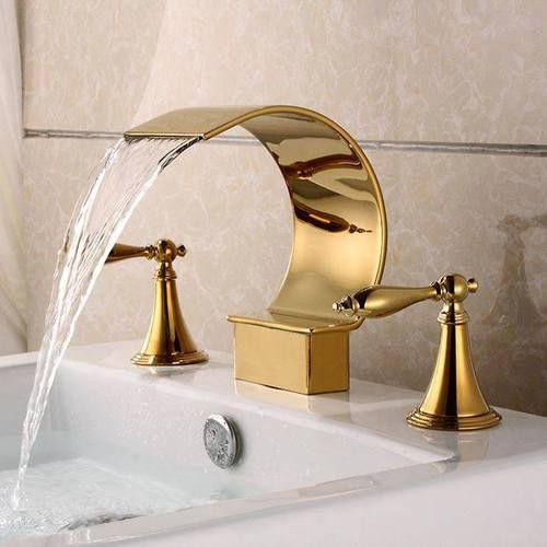 Captivating Gold Polished Waterfall Bathroom Sink Faucet Widespread 3 Holes Basin Mixer  Tap