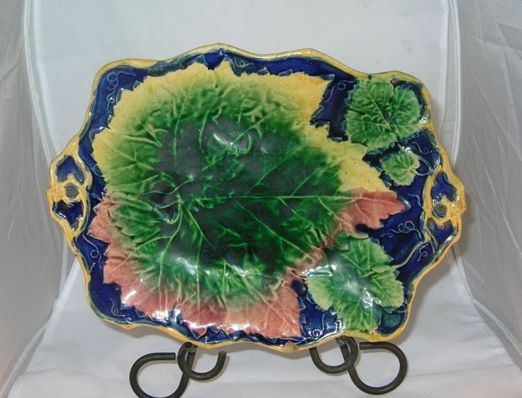 Old Majolica plate / bowl mid 1800's leaf pattern nice cabinet display piece