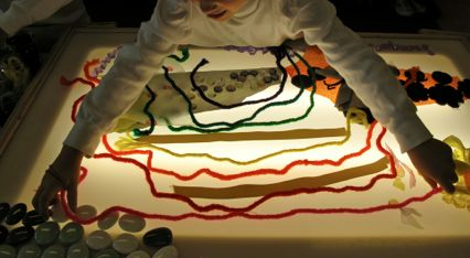 Materials: overhead projector, light table, jewels, number, letters, translucent opaque paper, stones, tracing paper, transparencies, mark -Playfully Inspired: A Journey Through Early Learning ≈≈