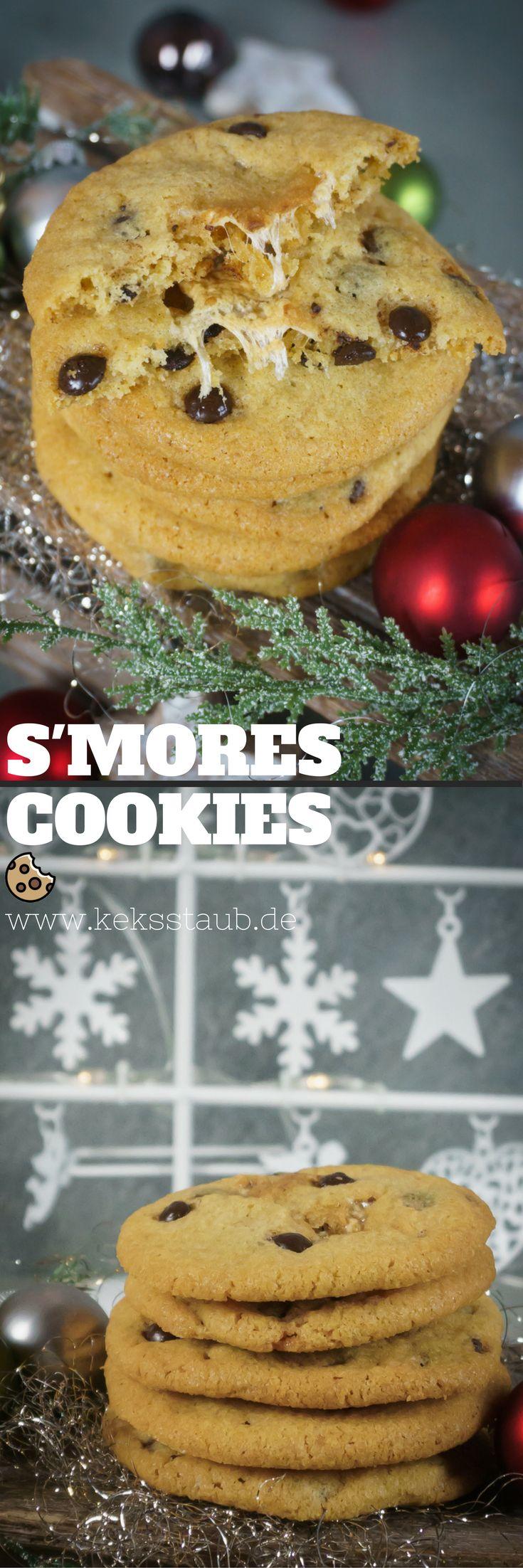 Rezept zum Backen für S'mores Cookies zu Weihnachten - Anleitung mit und ohne Thermomix. #Backen #Smores #Cookies #Plätzchen
