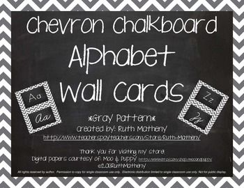 Chevron Alphabet Wall Cards Manuscript & Cursive - Gray