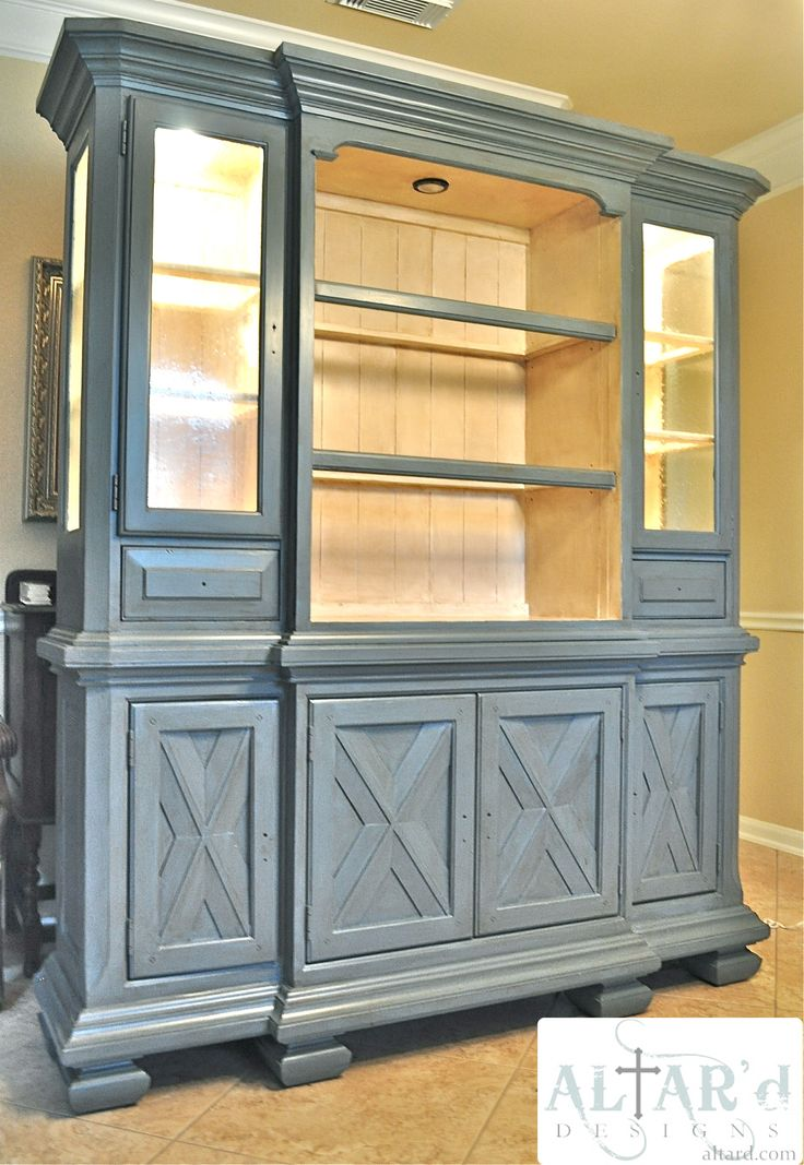 China Hutch Makeover Custom Painted Tuscan Cabinet