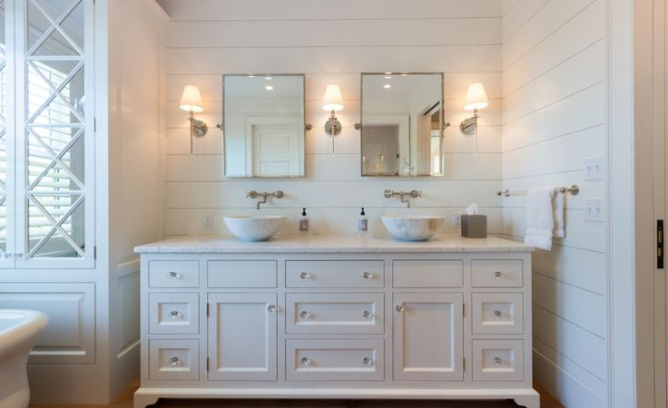 shiplap beach themes | shiplap Beach Style Bathroom Designs Boston crystal knobs dual sinks ...