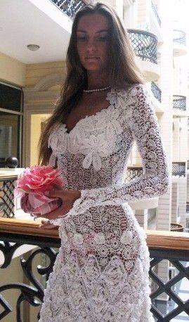 Вязанные крючком свадебные платья со схемами