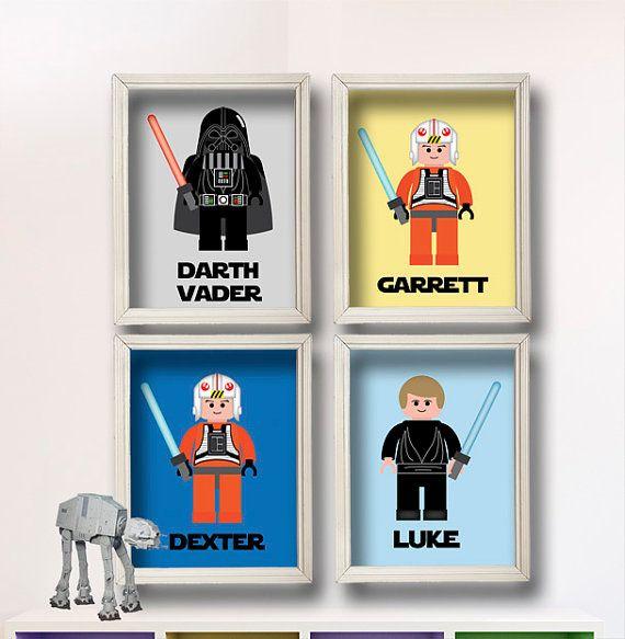 Lego Star Wars Kids Art Choose ANY 4 Lego Figures By StarWarsPrintShop,  $32.00