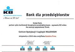 Kredyt Bank list gratulacyjny dla Centrum Dystrybucji i Logistyki MILLENNIUM