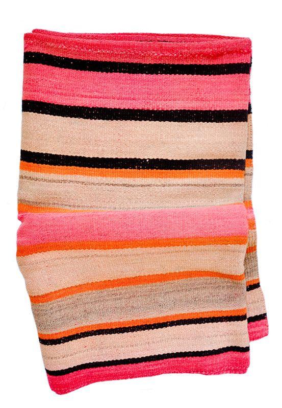 Bolivian Frazada Rug / Blanket, Pink, Orange & Peach