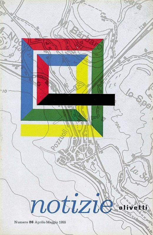 """Il marchio Olivetti, creato da Marcello Nizzoli nel 1952, utilizzato sulla copertina del n. 26 della pubblicazione interna """"Notizie Olivetti"""" che esce ad aprile-maggio del 1955. L'impiego del marchio non è formalizzato e presenta numerose varianti, sopratutto con il ricorso a diversi colori, come in questo caso."""