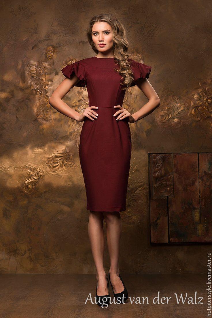 """Купить Платье """"Престиж"""" - бордовый, рисунок, деловое платье, силуэт, Коктейльное платье, платье футляр"""