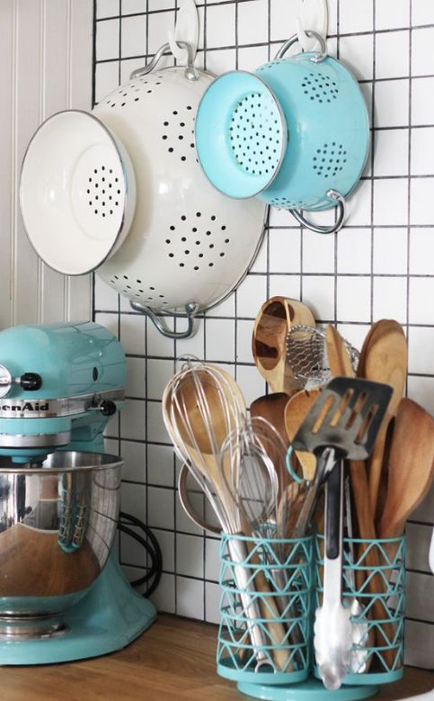 Beautiful Use Of Tiffany Blue In This Kitchen. Between The Stand Mixer, The  Colandar