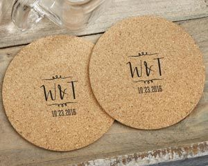 Vineyard themed cork coasters are only made better when customized with your monogram and event date. Set them around your wine-themed wedding, bridal shower, or special event to make guests happy.