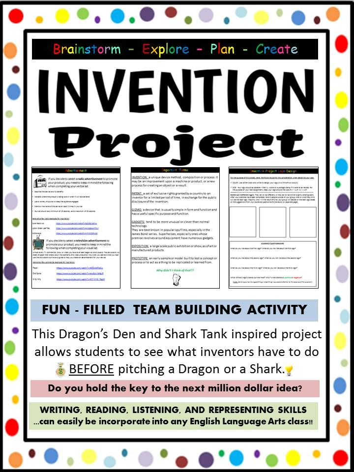 Have you ever wanted to be a part of ABC's Shark Tank, or CBC's Dragon's Den? Well, you now have your shot! You will participate in an invention exposition where you will plan, design and showcase your invention! Students will complete a variety of activating activities, move onto some acquiring lessons, and finish by applying what they have learned.