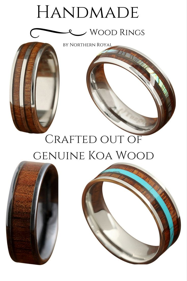 Handmade Wood Wedding Rings! Some of these wood rings are made of ceramic, tungsten, and real abalone. I don't even know how I am going to choose!!!