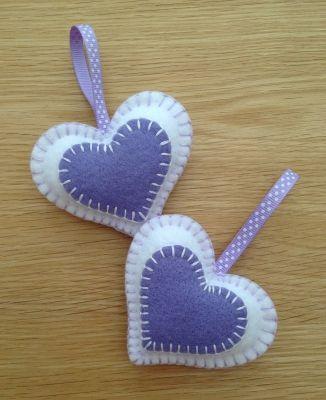 Set of 2 White & Lilac Felt Mini Heart Decorations - Favours
