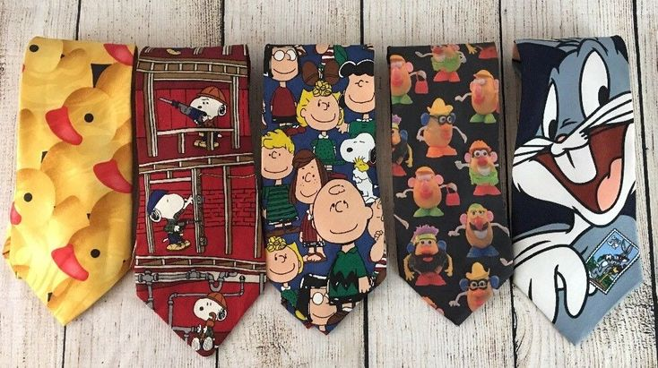 5 Novelty Ties, Potato Head, Rubber Ducky, Bugs Bunny, Snoopy, Charlie Brown  #Variety #Tie