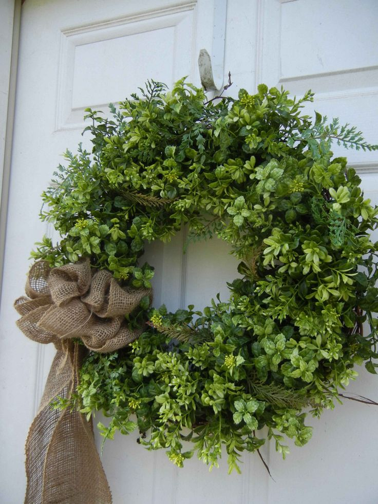Spring / Summer Wreath , Woodland Wreath , Front Door , Wreath , Primitive Wreath , Burlap Bow , Year Round. $89.00, via Etsy.