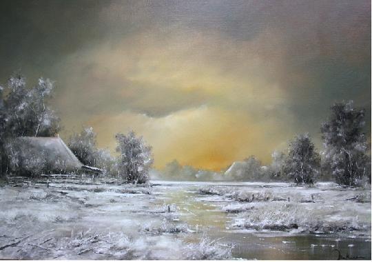 Winter schilderij Jan Kooistra