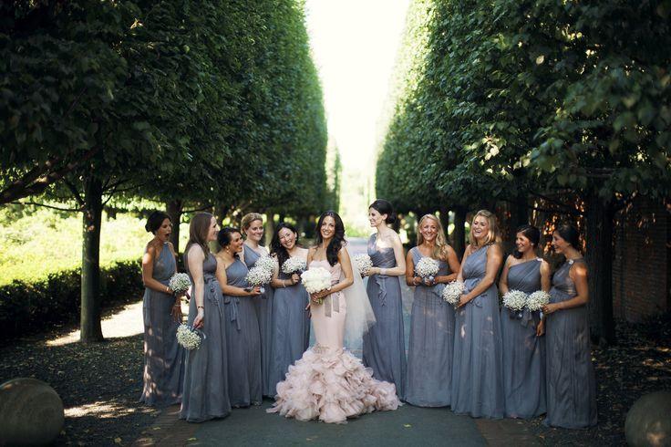 Wedding Wednesday: Grey and Blush Bridal Party #amsale #verawang #bridesmaids
