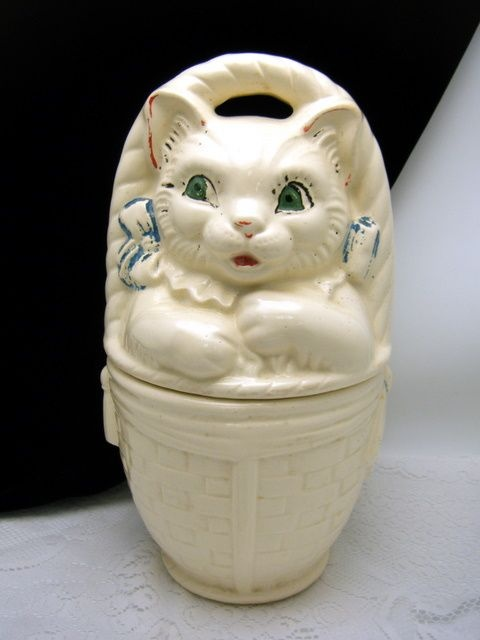 American Bisque Cat In a Basket Cookie Jar