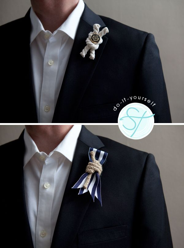 Ribbon and Rope Boutonnieres | 36 Utterly Charming Nautical DIYs