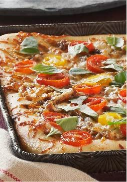 Grilled Pizza With Cheesy Corn, Fresh Tomatoes, And Basil Recipe ...