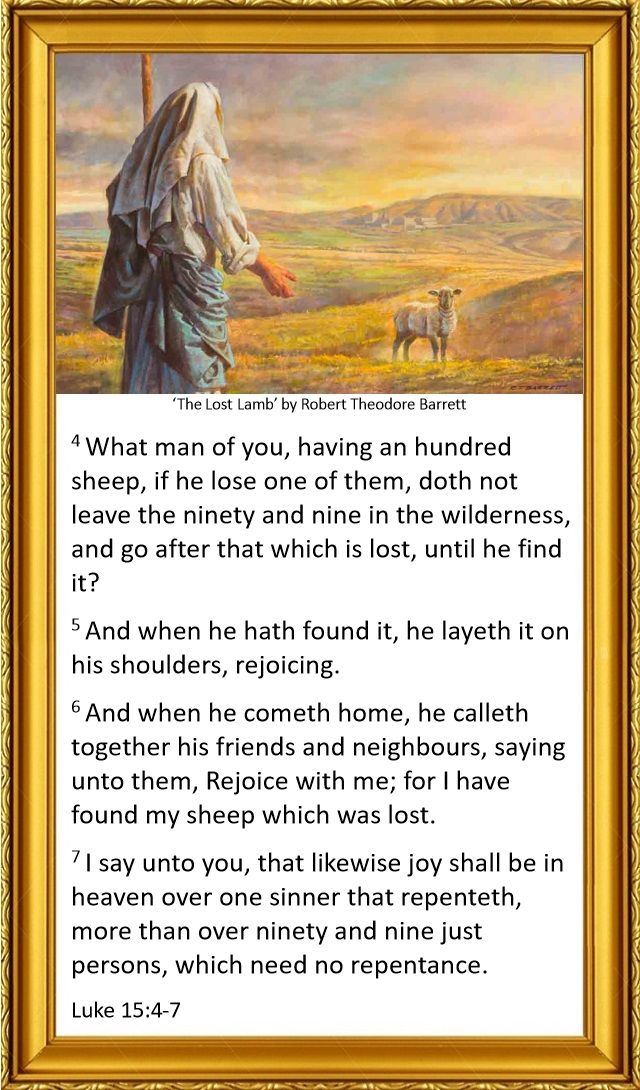 Luke 15:4-7 King James Bible - painting 'The Lost Lamb' by Robert Theodore Barrett