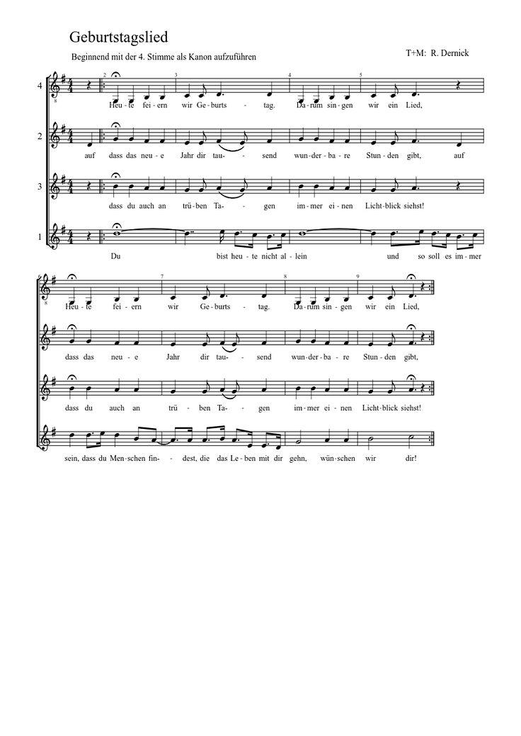 Geburtstagslied (Kanon von Rupert Dernick) | MuseScore