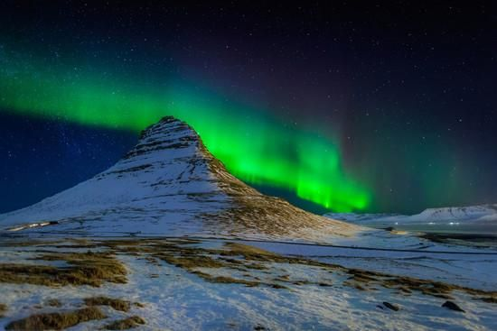 Aurora Borealis or Northern Lights over Mt Kirkjufell, Snaefellsnes Peninsula, Iceland Photographic Print by Green Light Collection at Art.co.uk
