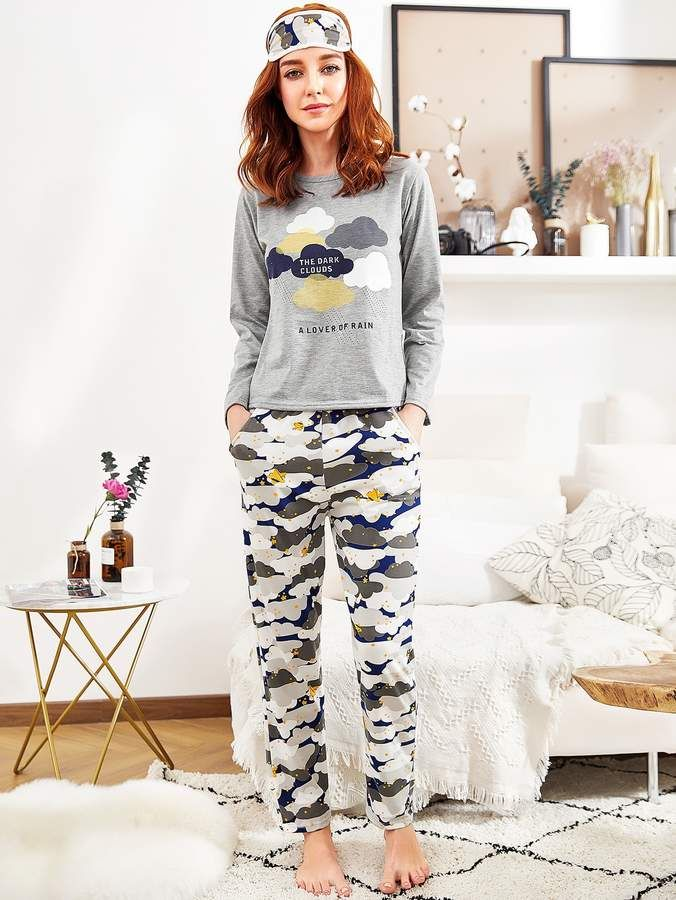 065c0ad0d1 Romwe Cloud Print Long Pajama Set #Print#Cloud#Romwe | Mens fashion ...