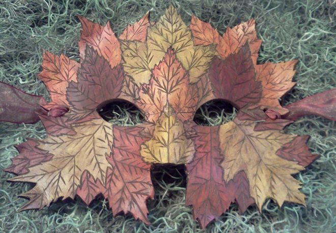 With a little imagination — one of these delightful leather crafted masks — you areDiana, or Brucie, the French forest sprite,or any of the forest guardian fairies. Wood nymphs come alive and out from behind your trees!